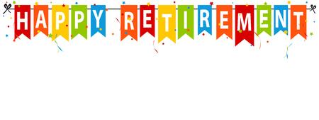 Banner di pensionamento felice - illustrazione vettoriale - isolato su sfondo bianco