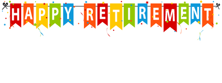 Happy Retirement Banner - Vector Illustration - Isolated On White Background Foto de archivo - 100431716