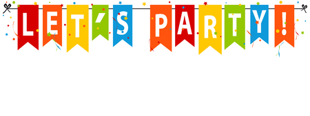 Let´s Party! Banner, Background - Editable Vector Illustration Vettoriali