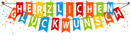 German Party Banner Herzlichen Glückwunsch - Translation: Happy Birthday - Editable Vector Illustration