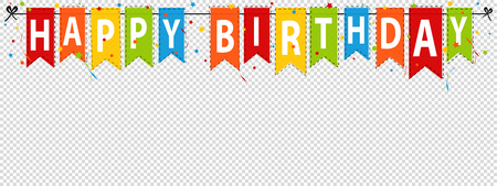 Happy Birthday Banner, Background - Editable Vector Illustration - Isolated On Transparent Background Vettoriali