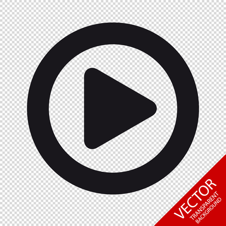 Video Media Play Button Flat Icon For Apps And Websites - Isolated On Transparent Background Иллюстрация
