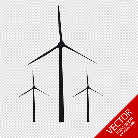 Wind Turbines - Vector Graphic Icons - Isolated On Transparent Background