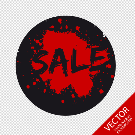 Sale Button Icon Black And Red - Vector Logo - Isolated On Transparent Background Illustration