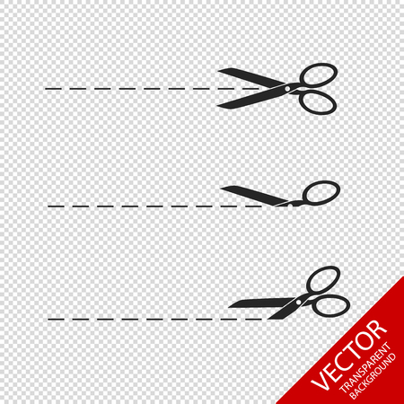 Different Scrissors With Lines - Vector Icons - Isolated On Transparent Background