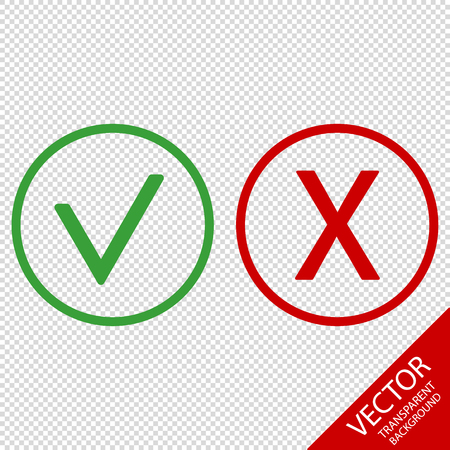 Checkmark And X Or Confirm And Deny Icons - Vector Illustration - Isolated On Transparent Background Illustration