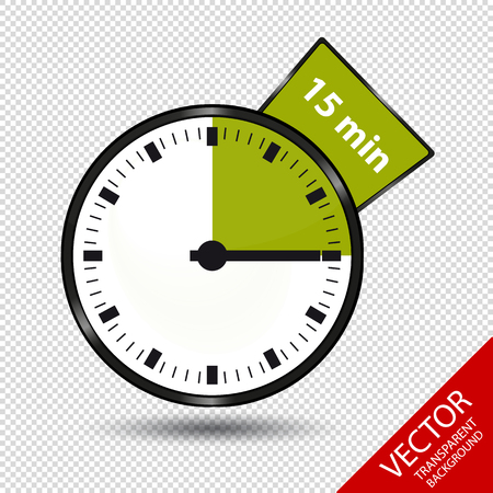 Timer 15 Minutes - Vector Illustration - Isolated On Transparent Background Stock Illustratie