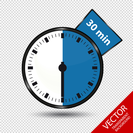 Timer 30 Minutes - Vector Illustration - Isolated On Transparent Background