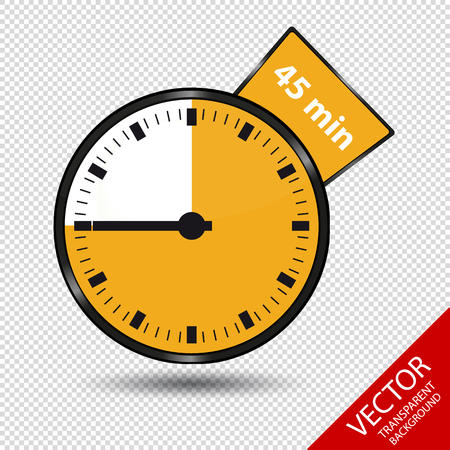 Timer 45 Minutes - Vector Illustration - Isolated On Transparent Background