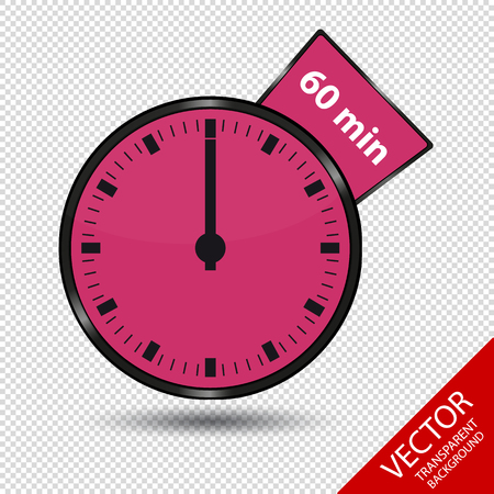 Timer 60 Minutes - Vector Illustration - Isolated On Transparent Background