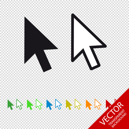 Computer Mouse Click Pointer Arrow - Vector Icon - Isolated On Transparent Background