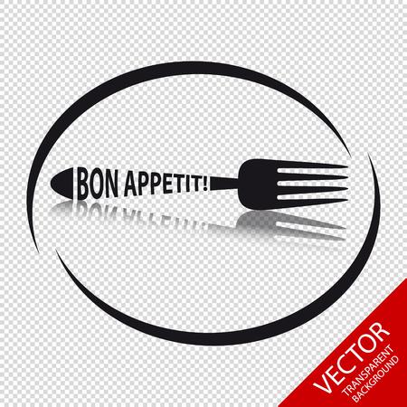 Fork Icon Bon Appetit - Circular Restaurant Symbol - Isolated On Transparent Background Stock Illustratie