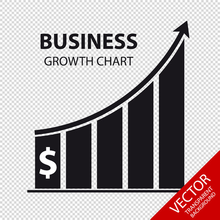 Business Growth Chart - Vector Illustration - Isolated On Transparent Background