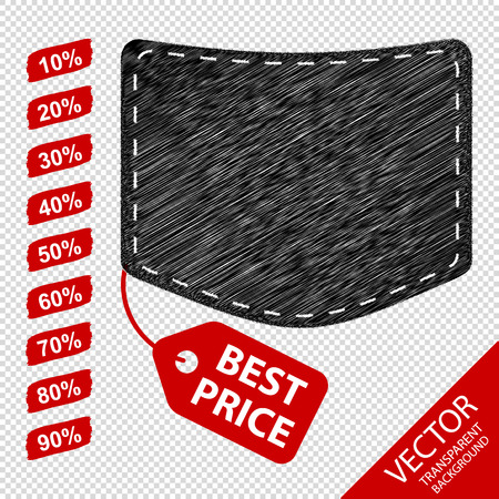 Jeans Pocket With Discount Tags - Best Price Concept Icons - Isolated On Transparent Background