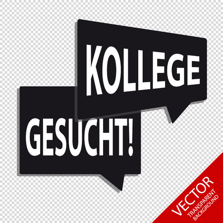 Speech Bubbles With German Words Colleague Wanted  - Isolated On Transparent Background