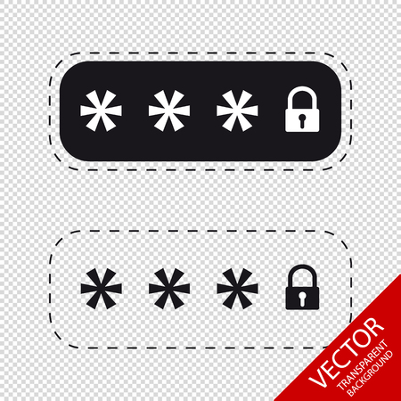 Locked Password Fields - Vector Icons - Isolated On Transparent Background