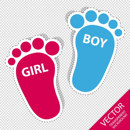 Baby Footprint - Girl And Boy Outline Icons With Shadow - Isolated On Transparent Background