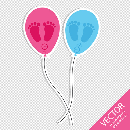 Baby Footprint And Balloons - Girl And Boy Icons - Isolated On Transparent Background