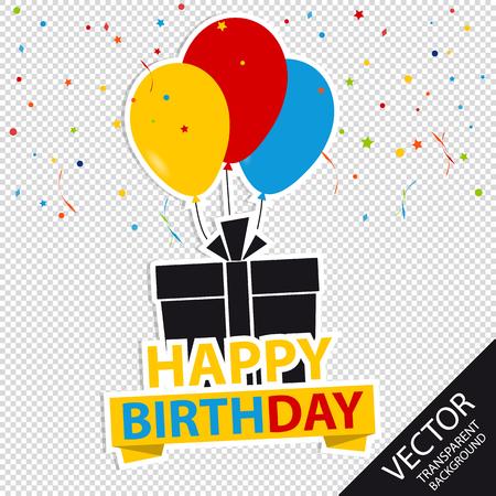Alles Gute zum Geburtstag Hintergrund mit Geschenk und Luftballons - bunte Vektor-Illustration - lokalisiert auf transparentem Hintergrund