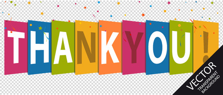 Thank You - Colorful Vector Illustration - Isolated On Transparent Background