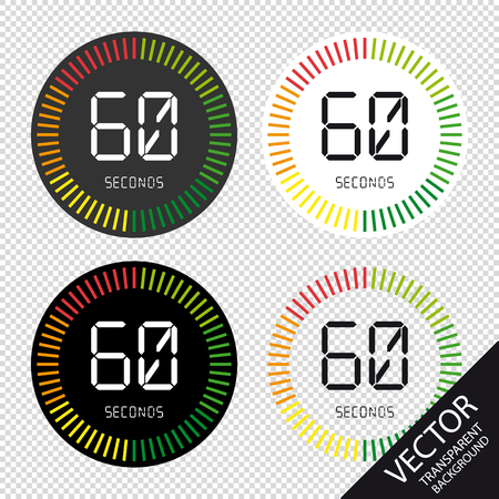 Time And Clock, 60 Seconds - Vector Illustration - Isolated On Transparent Background