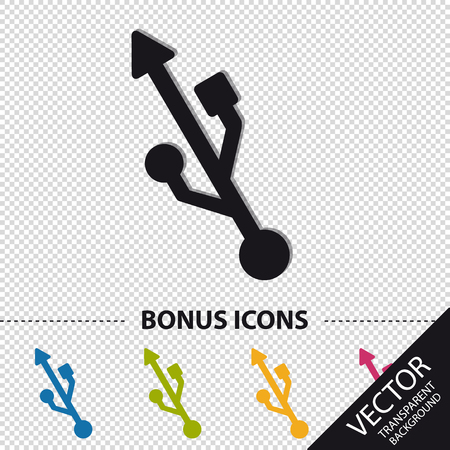USB Symbol - Colorful Vector Illustration With Bonus Icons - Isolated On Transparent Background