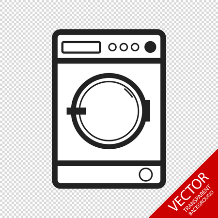 Washing Machine Isolated - Front View - Editable Vector - Isolated On Transparent Background