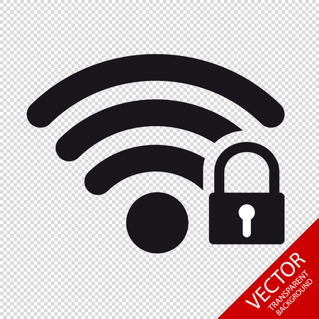 Black WI-FI Safety Lock - Vector Illustration - Isolated On Transparent Background
