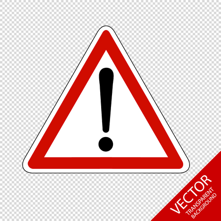 Warning Caution Sign - Vector Illustration - Isolated On Transparent Background