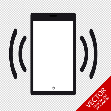Smartphone Mobile Device Ringing Or Vibrating Flat Icon For Apps And Websites - Isolated On Transparent Background Illustration