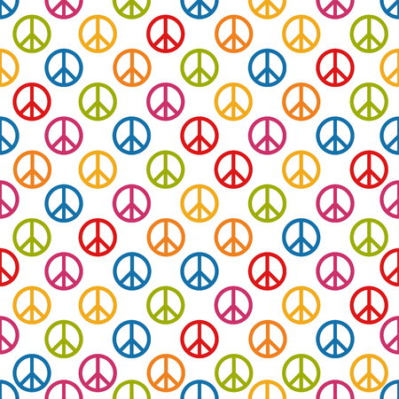 Seamless Pattern Background - Colorful Peace Signs - Vector Illustration