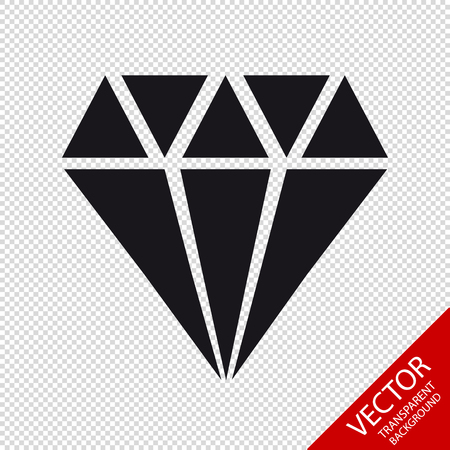 Diamond Jewel Icon - Vector Illustration - Isolated On Transparent Background