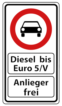 German Road Sign:   Diesel Up To Euro 5 Free - Open For Residents - Vector Illustration With Black Car - Isolated On White Background Ilustração