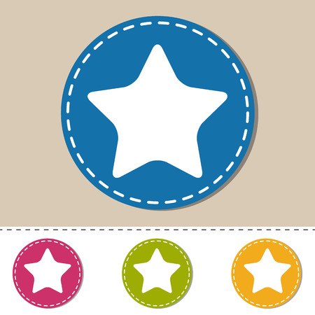 Star Button - Favorite Icon - Colorful Vector Illustration - Isolated On Monotone Background