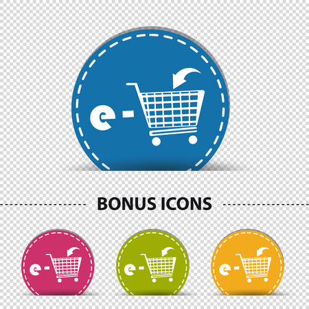 E-Shopping Cart - Four Colorful Round Buttons - Vector Illustration - Isolated On Transparent Background Illustration