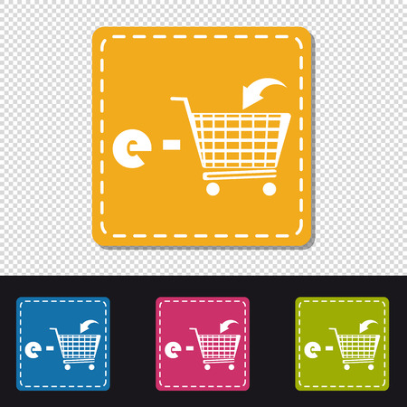 E-Shopping Cart - Four Colorful Square Buttons - Vector Illustration - Isolated On Transparent Background Illustration
