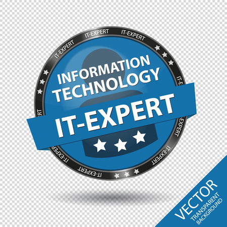 Glossy Information Technology IT-Expert Button - Blue Vector Illustration - Isolated On Transparent Background Illustration