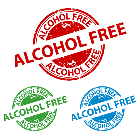 Rubber Stamp Seal - Alcohol Free Button - Vector Illustration Isolatet On Transparent Background
