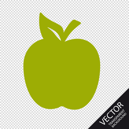 Apple Icon - Green Vector Illustration - Isolated On Transparent Background