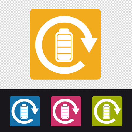Battery Rechargeable Icon - Colorful Vector Illustration - Isolated On Transparent Background