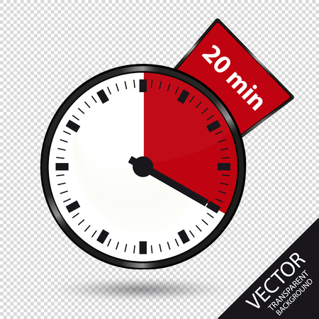 Timer 20 Minutes - Vector Illustration - Isolated On Transparent Background Stock Illustratie
