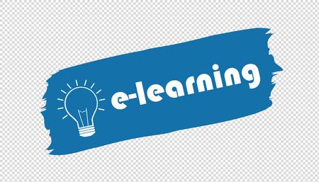 e-Learning And Lightbulb Brushstroke Banner - Blue Vector Illustration - Isolated On Transparent Background
