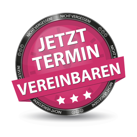 Pink German Glossy Button - Dont Forget - Make An Appointment Now - Vector Illustration