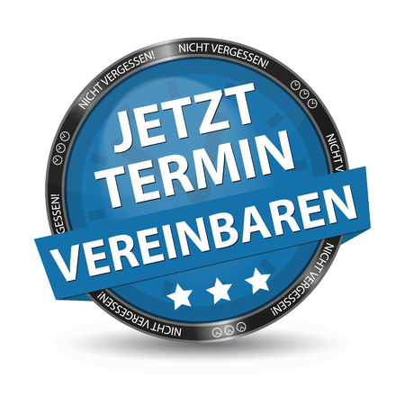 Blue German Glossy Button - Dont Forget - Make An Appointment Now - Vector Illustration