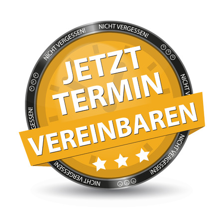 Yellow German Glossy Button - Dont Forget - Make An Appointment Now - Vector Illustration Stockfoto - 105074350