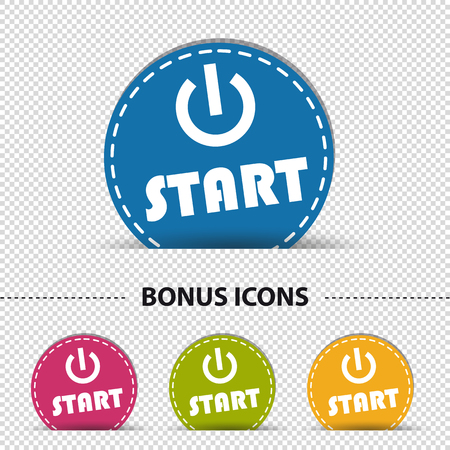 Four Colorful Round Start Power Buttons - Vector Illustration - Isolated On Transparent Background