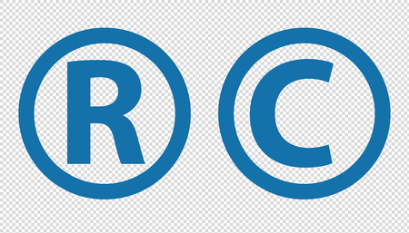 Registered Trademark And Copyright Icons - Vector Illustration - Isolated On Transparent Background