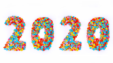 New Year - Confetti numbers 2020 - Isolated on white background Banque d'images - 104450512