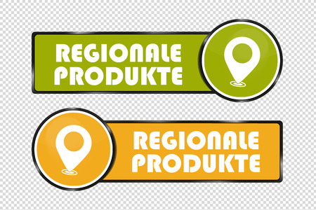 German Square And Circle Buttons Regional Products - Vector Illustration - Isolated On Transparent Background Banque d'images - 105738780