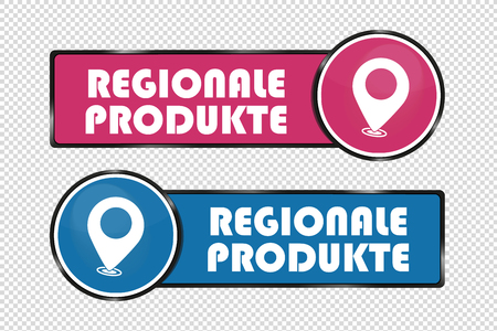 German Square And Circle Buttons Regional Products - Vector Illustration - Isolated On Transparent Background